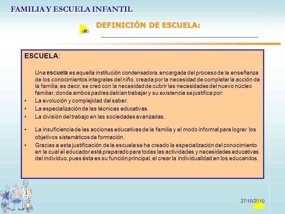 FAMILIA Y ESCUELA INFANTIL 5 27/10/2010 DEFINICIÓN DE ESCUELA: ESCUELA: Una escuela es aquella institución condensadora, encargada del proceso de la e