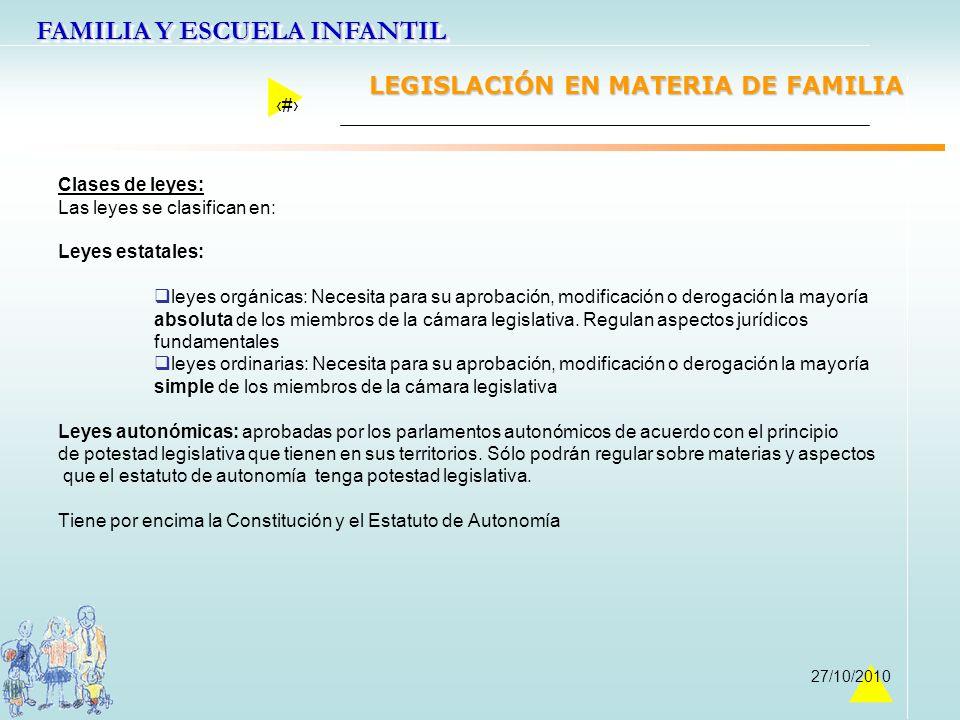 FAMILIA Y ESCUELA INFANTIL 8 27/10/2010 Clases de leyes: Las leyes se clasifican en: Leyes estatales: leyes orgánicas: Necesita para su aprobación, mo