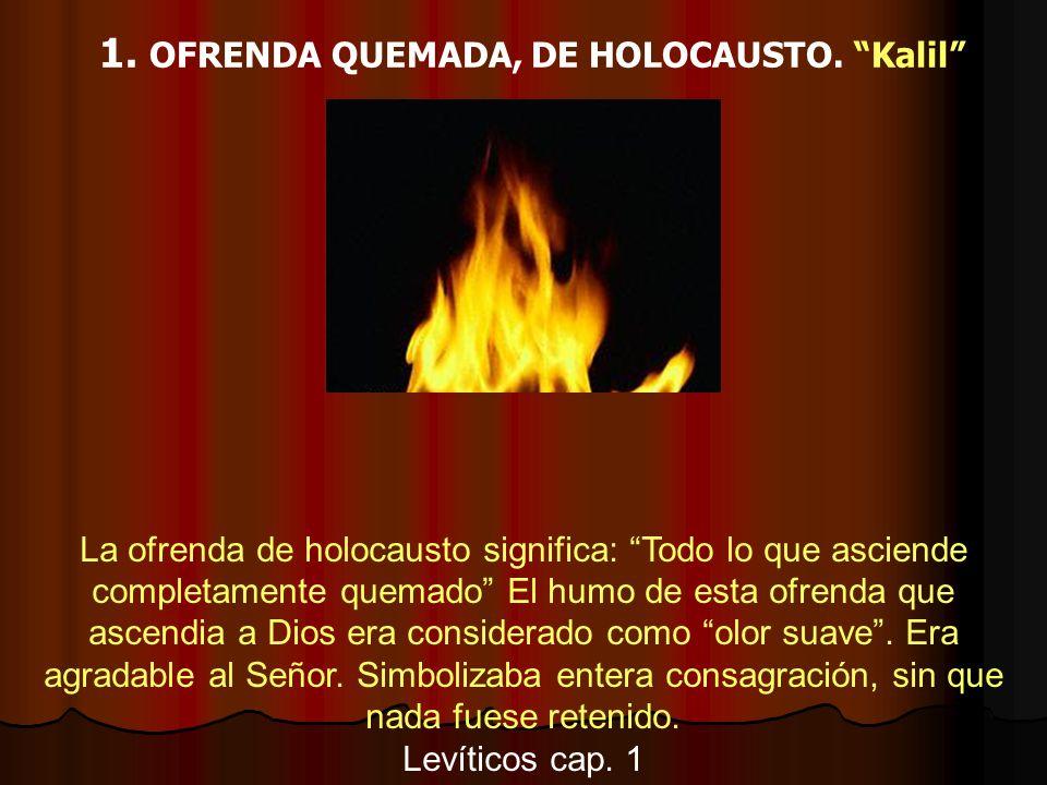 1. OFRENDA QUEMADA, DE HOLOCAUSTO. Kalil La ofrenda de holocausto significa: Todo lo que asciende completamente quemado El humo de esta ofrenda que as