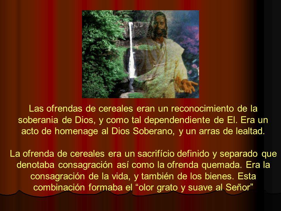 Las ofrendas de cereales eran un reconocimiento de la soberania de Dios, y como tal dependendiente de El. Era un acto de homenage al Dios Soberano, y