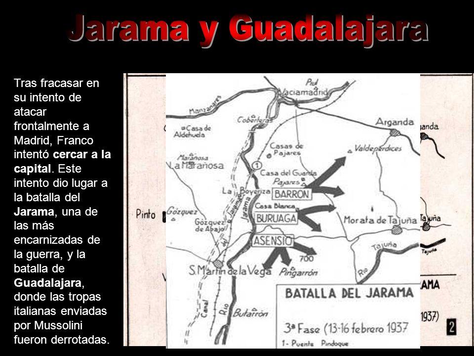 Tras fracasar en su intento de atacar frontalmente a Madrid, Franco intentó cercar a la capital. Este intento dio lugar a la batalla del Jarama, una d