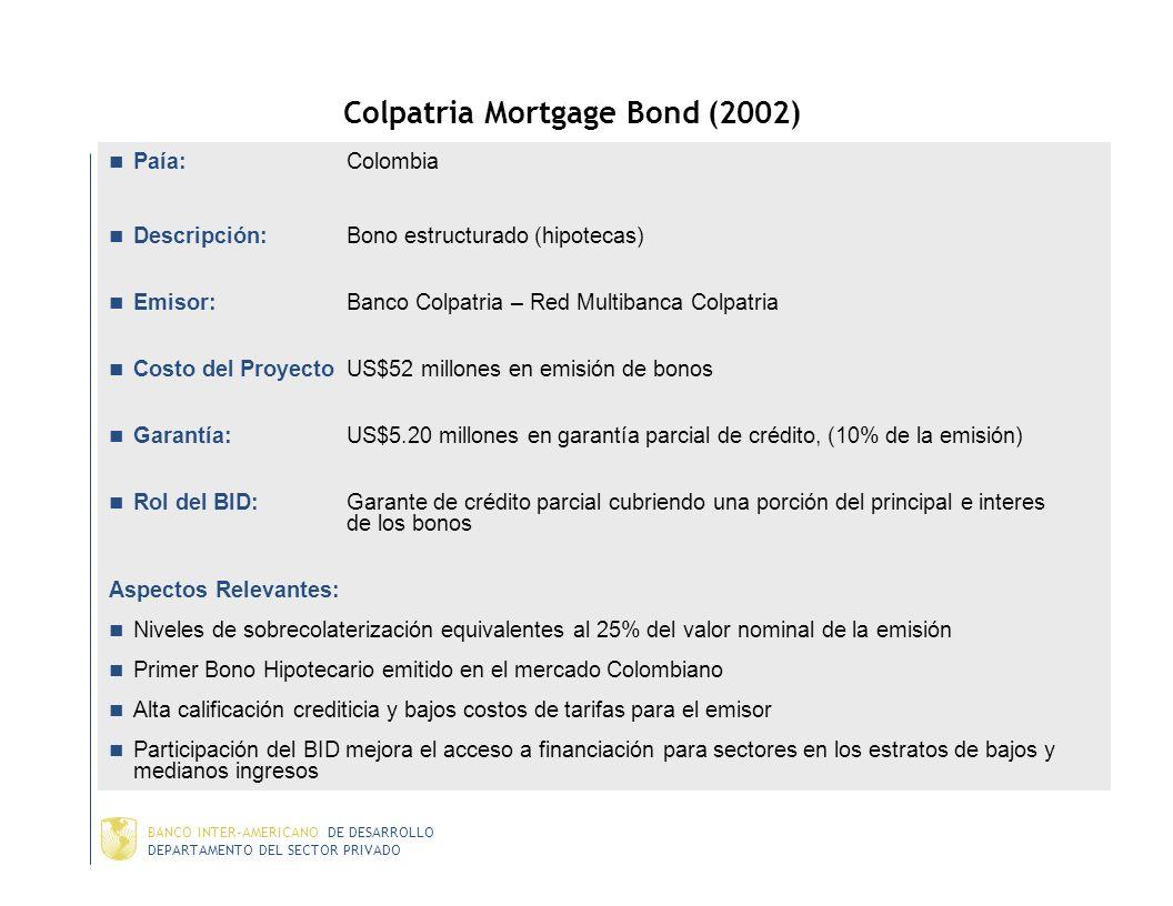 DEPARTAMENTO DEL SECTOR PRIVADO BANCO INTER-AMERICANO DE DESARROLLO Costanera Norte (2003) País: Chile Descripción: Construcción, OyM de 42km de una r