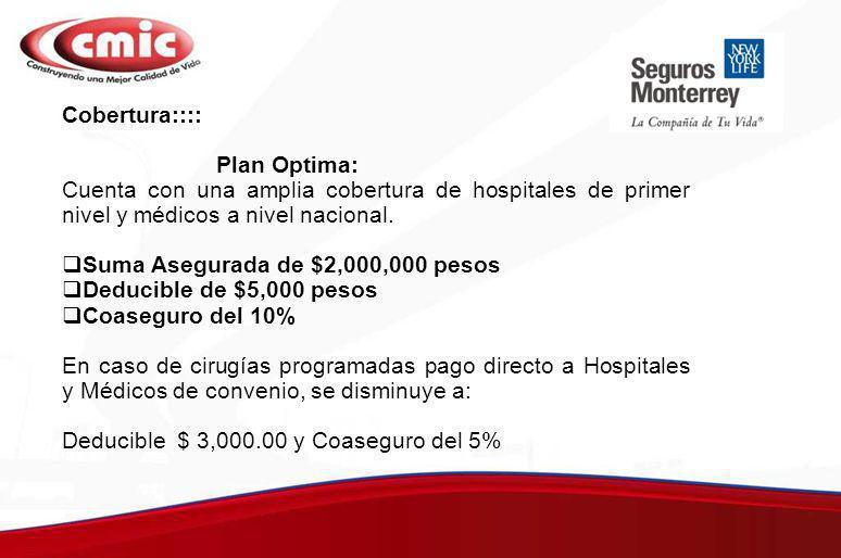 Coberturas Adicionales cubiertas: Parto Normal y Cesárea: Hasta por $22,000 pesos sin periodo de espera.