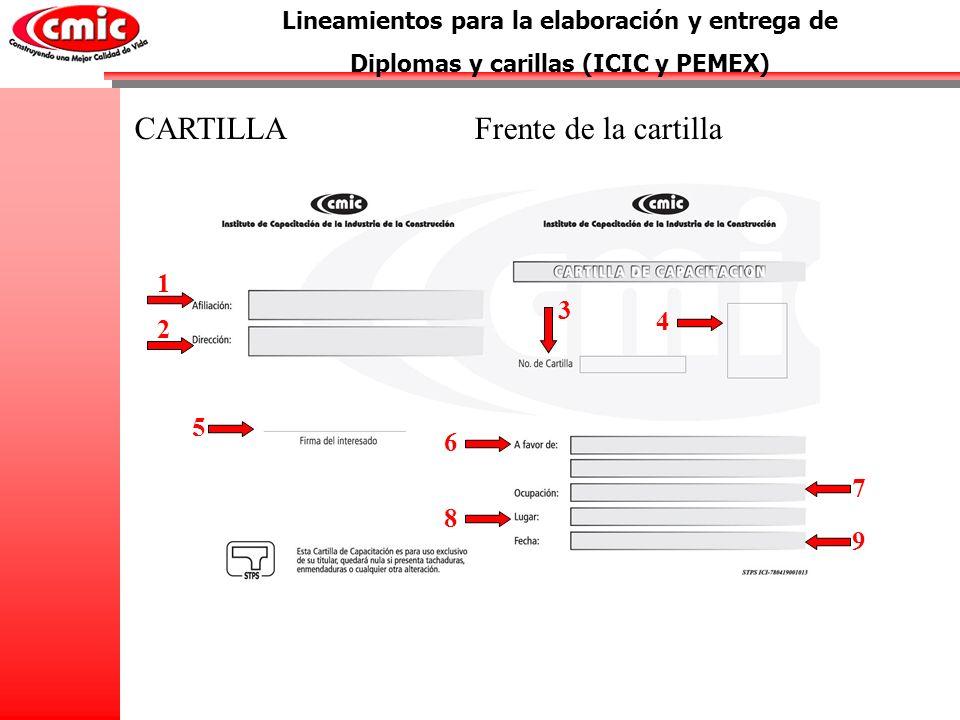 Lineamientos para la elaboración y entrega de Diplomas y carillas (ICIC y PEMEX) 1 CARTILLA 2 3 4 Frente de la cartilla 5 7 9 8 6