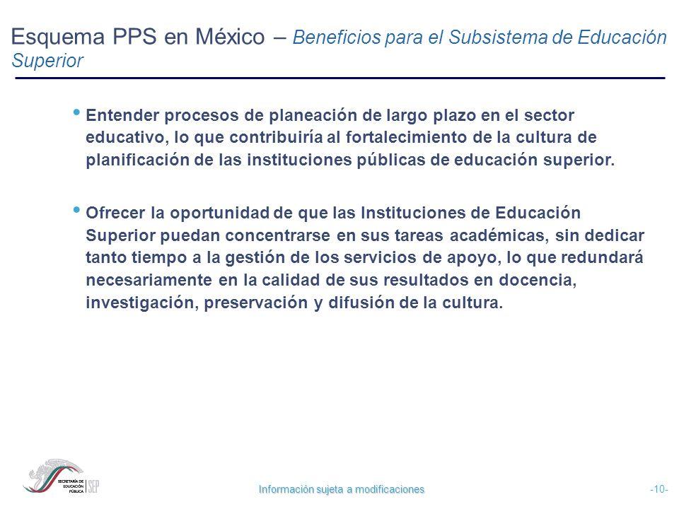 Información sujeta a modificaciones -10- Esquema PPS en México – Beneficios para el Subsistema de Educación Superior Entender procesos de planeación d