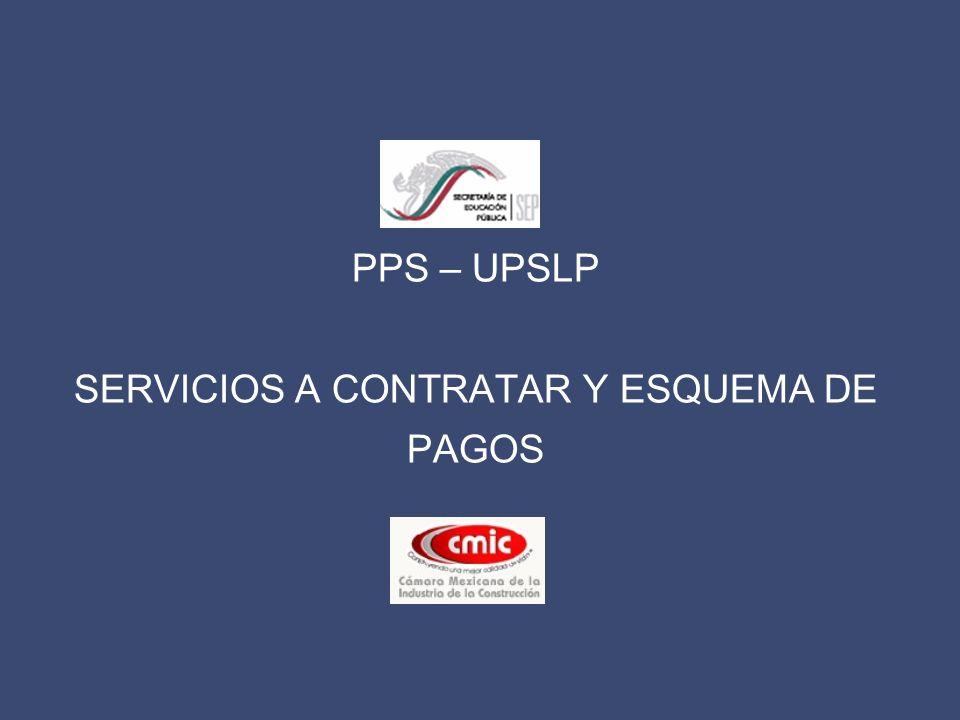 PPS – UPSLP SERVICIOS A CONTRATAR Y ESQUEMA DE PAGOS