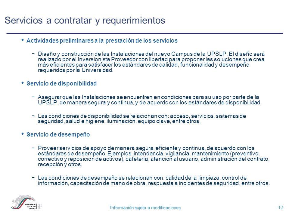 Información sujeta a modificaciones -12- Servicios a contratar y requerimientos Actividades preliminares a la prestación de los servicios - Diseño y c