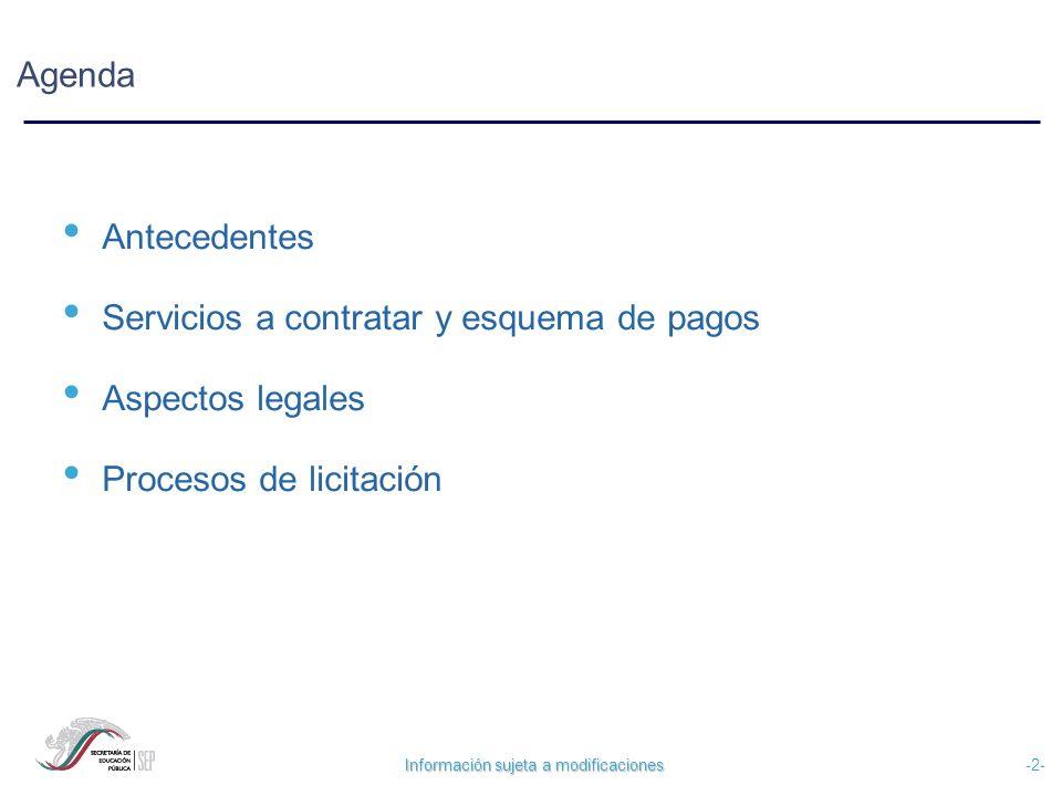 Información sujeta a modificaciones -2- Agenda Antecedentes Servicios a contratar y esquema de pagos Aspectos legales Procesos de licitación