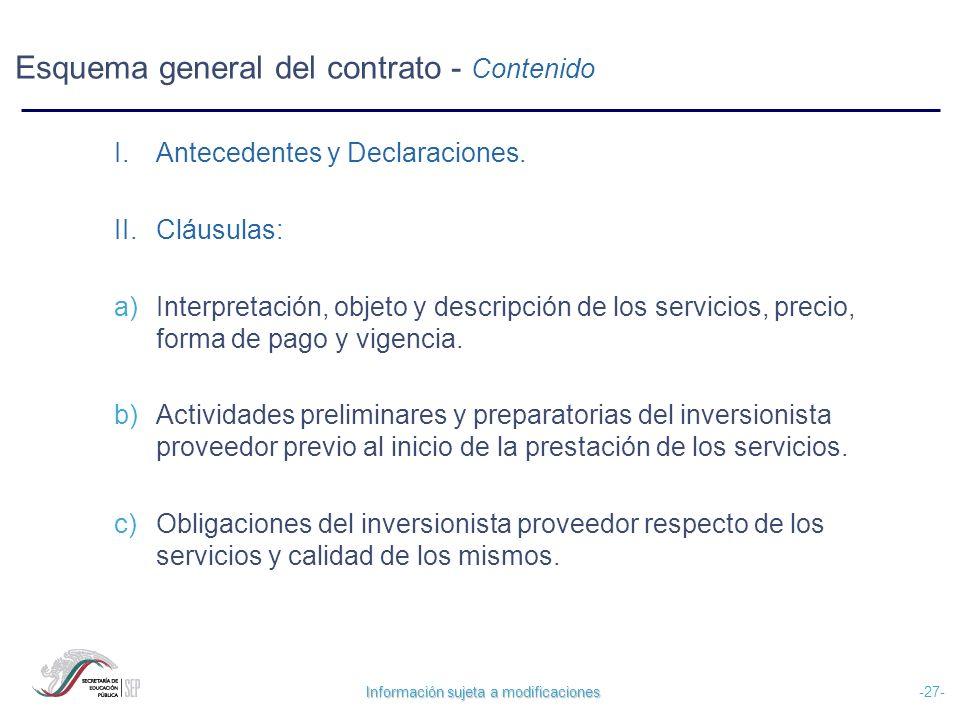 Información sujeta a modificaciones -27- Esquema general del contrato - Contenido I.Antecedentes y Declaraciones. II.Cláusulas: a) Interpretación, obj