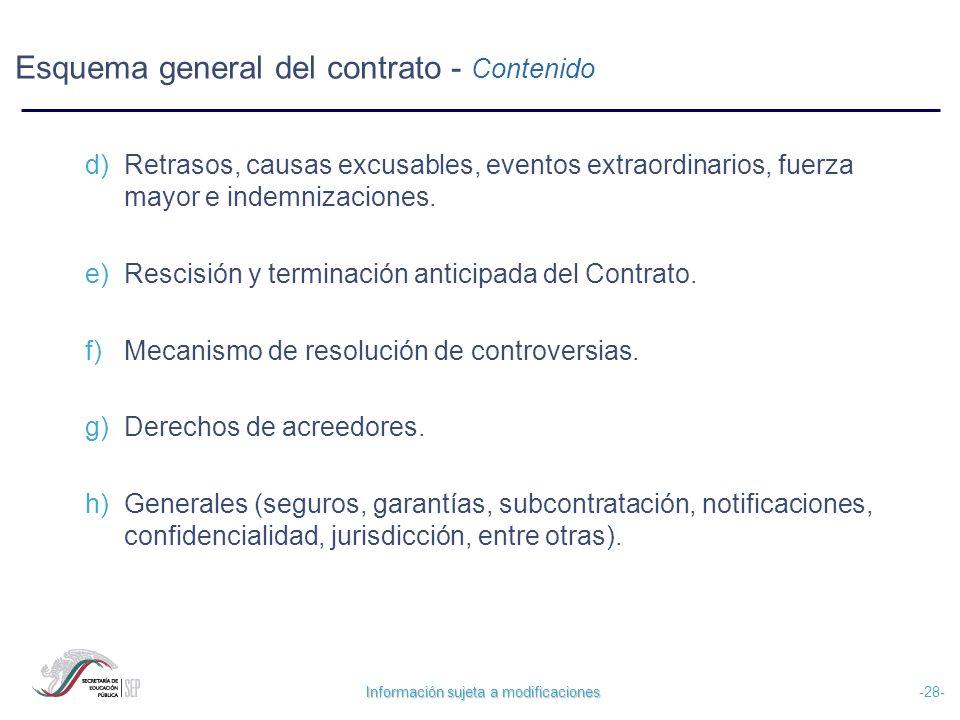 Información sujeta a modificaciones -28- Esquema general del contrato - Contenido d) Retrasos, causas excusables, eventos extraordinarios, fuerza mayo