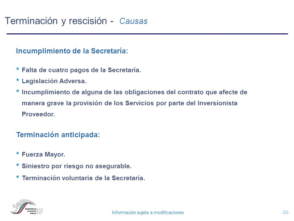 Información sujeta a modificaciones -33- Terminación y rescisión - Causas Incumplimiento de la Secretaría: Falta de cuatro pagos de la Secretaría. Leg
