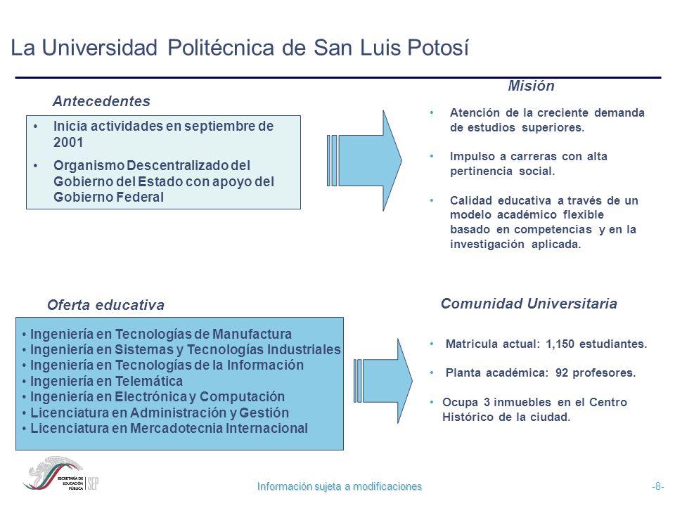 Información sujeta a modificaciones -8- La Universidad Politécnica de San Luis Potosí Inicia actividades en septiembre de 2001 Organismo Descentraliza
