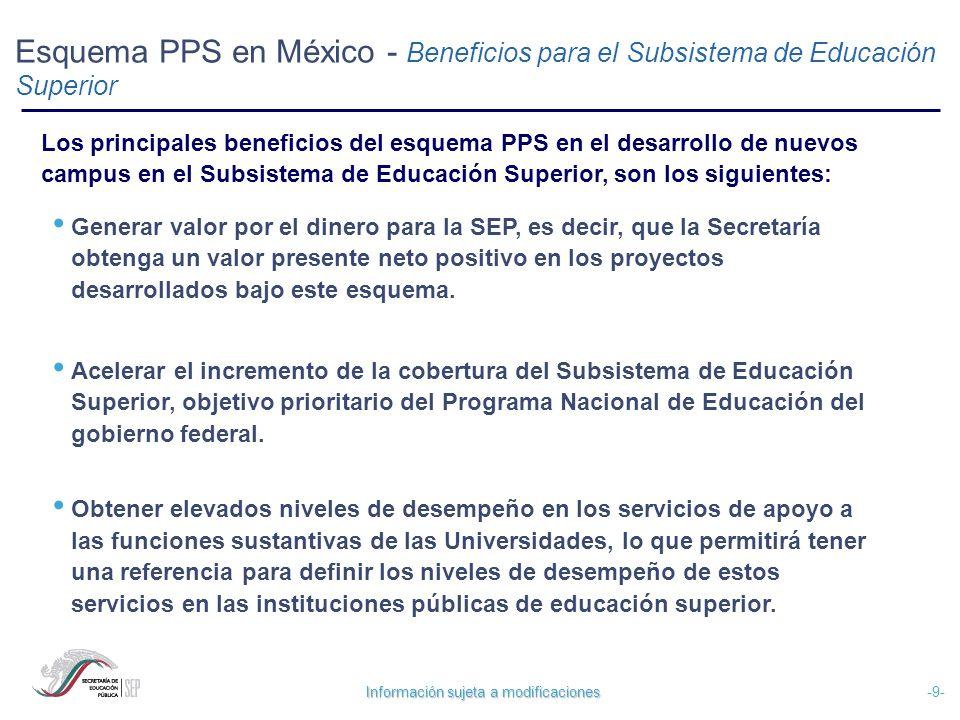 Información sujeta a modificaciones -10- Esquema PPS en México – Beneficios para el Subsistema de Educación Superior Entender procesos de planeación de largo plazo en el sector educativo, lo que contribuiría al fortalecimiento de la cultura de planificación de las instituciones públicas de educación superior.
