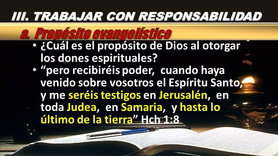 ¿Cuál es el propósito de Dios al otorgar los dones espirituales? pero recibiréis poder, cuando haya venido sobre vosotros el Espíritu Santo, y me seré