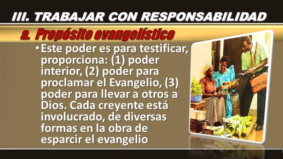 Este poder es para testificar, proporciona: (1) poder interior, (2) poder para proclamar el Evangelio, (3) poder para llevar a otros a Dios. Cada crey