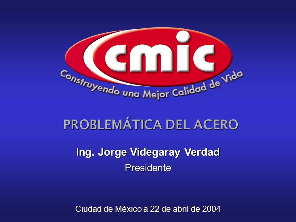 PROBLEMÁTICA DEL ACERO Ciudad de México a 22 de abril de 2004 Ing. Jorge Videgaray Verdad Presidente