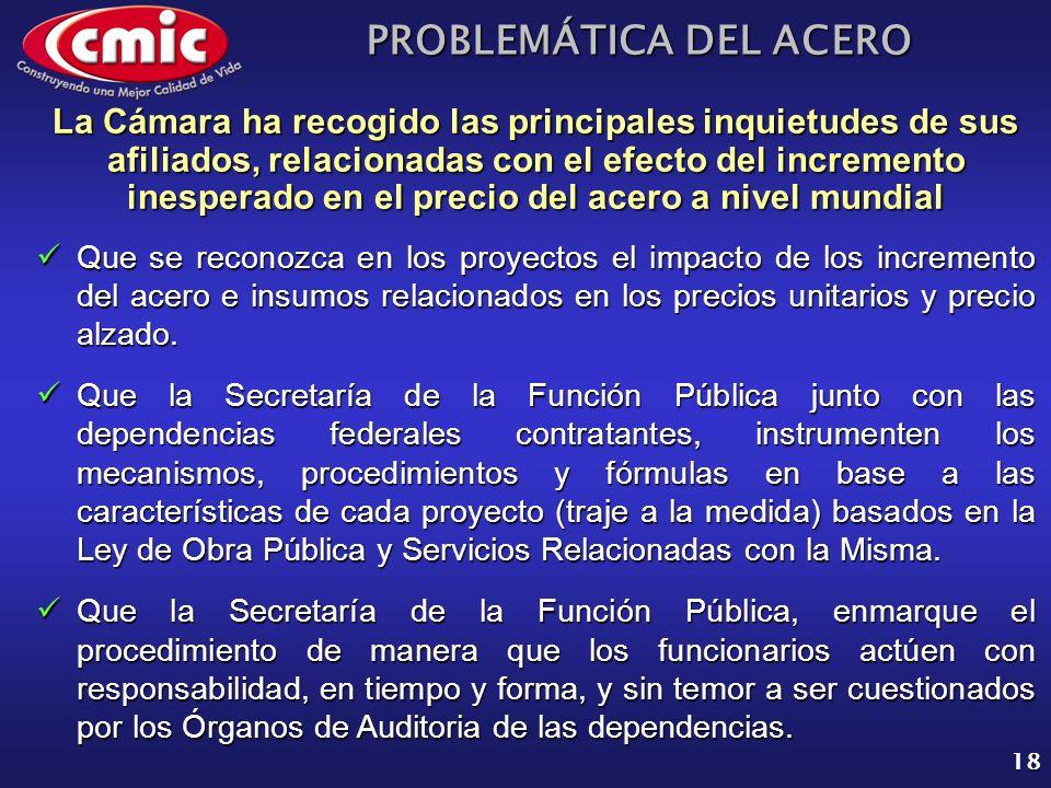 PROBLEMÁTICA DEL ACERO 18 La Cámara ha recogido las principales inquietudes de sus afiliados, relacionadas con el efecto del incremento inesperado en