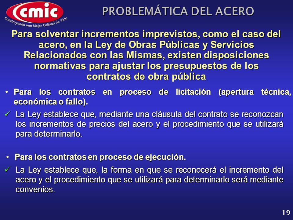 PROBLEMÁTICA DEL ACERO 19 Para solventar incrementos imprevistos, como el caso del acero, en la Ley de Obras Públicas y Servicios Relacionados con las