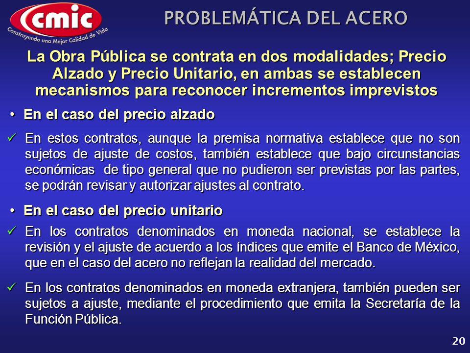 PROBLEMÁTICA DEL ACERO 20 En el caso del precio alzadoEn el caso del precio alzado La Obra Pública se contrata en dos modalidades; Precio Alzado y Pre