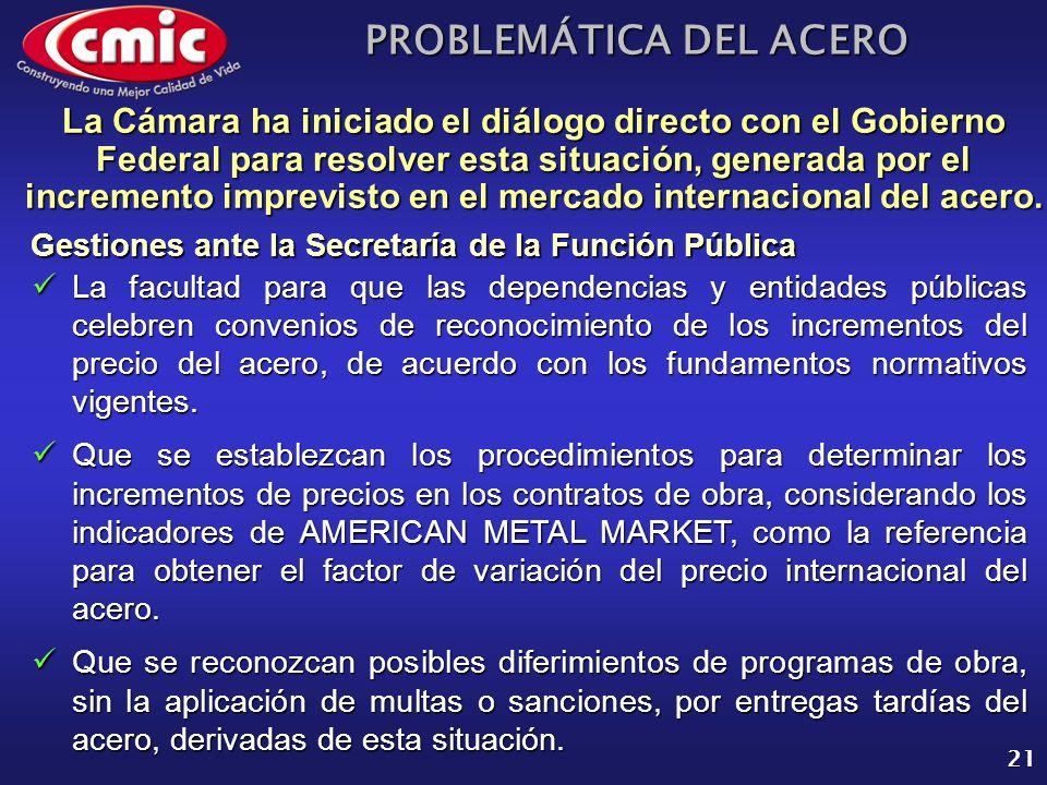 PROBLEMÁTICA DEL ACERO 21 Gestiones ante la Secretaría de la Función Pública La Cámara ha iniciado el diálogo directo con el Gobierno Federal para res