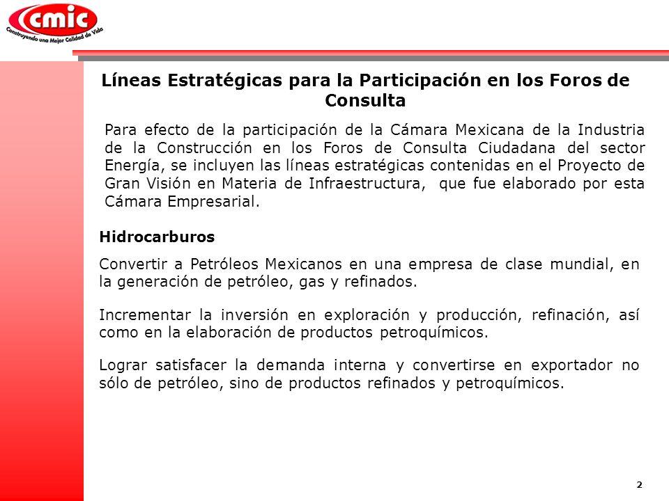 Líneas Estratégicas para la Participación en los Foros de Consulta Para efecto de la participación de la Cámara Mexicana de la Industria de la Construcción en los Foros de Consulta Ciudadana del sector Energía, se incluyen las líneas estratégicas contenidas en el Proyecto de Gran Visión en Materia de Infraestructura, que fue elaborado por esta Cámara Empresarial.