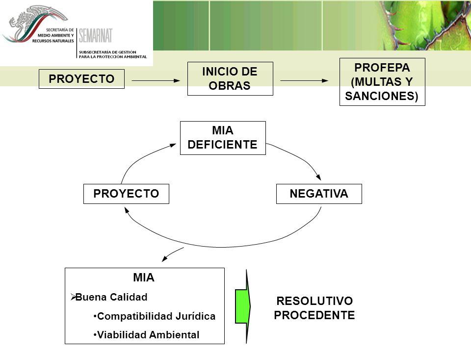 PROYECTO INICIO DE OBRAS PROFEPA (MULTAS Y SANCIONES) PROYECTO MIA DEFICIENTE NEGATIVA MIA Buena Calidad Compatibilidad Jurídica Viabilidad Ambiental