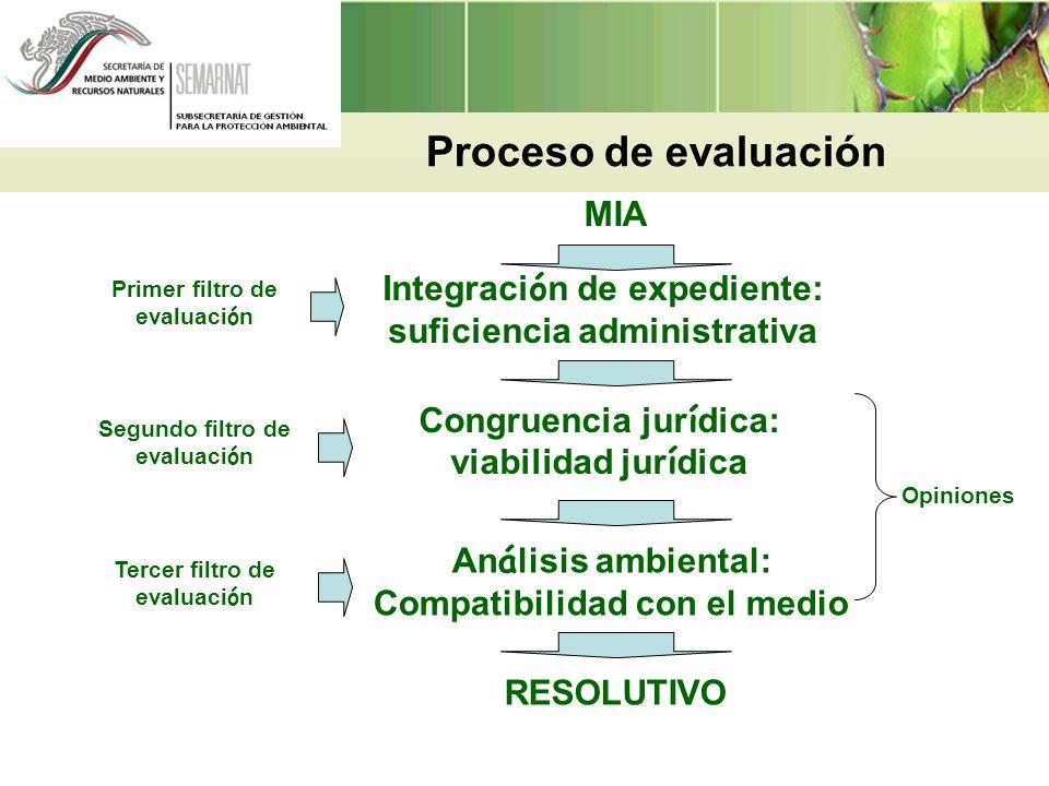 Integraci ó n de expediente: suficiencia administrativa Congruencia jur í dica: viabilidad jur í dica An á lisis ambiental: Compatibilidad con el medi