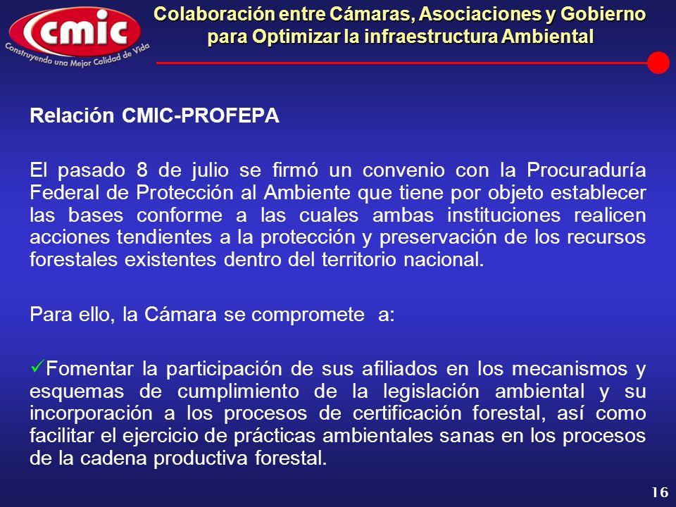 Colaboración entre Cámaras, Asociaciones y Gobierno para Optimizar la infraestructura Ambiental 16 Relación CMIC-PROFEPA El pasado 8 de julio se firmó