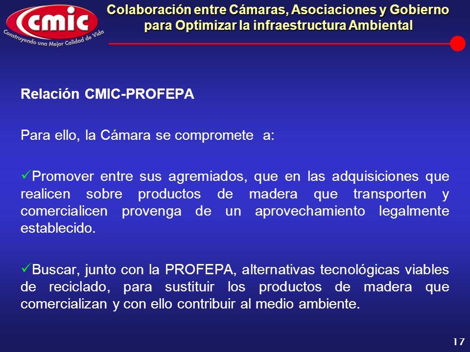 Colaboración entre Cámaras, Asociaciones y Gobierno para Optimizar la infraestructura Ambiental 17 Relación CMIC-PROFEPA Para ello, la Cámara se compr