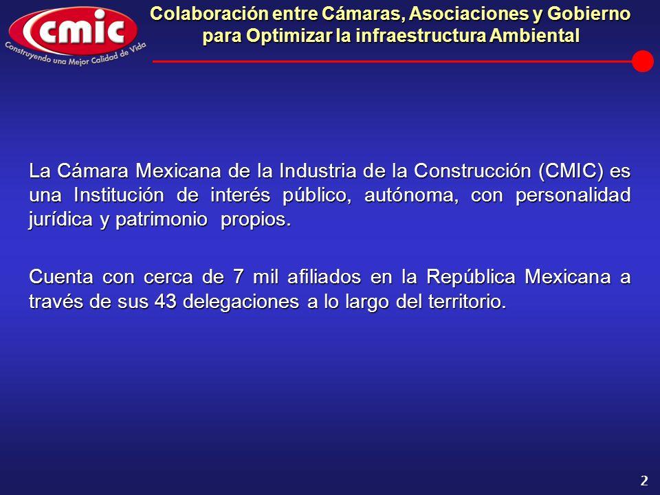 Colaboración entre Cámaras, Asociaciones y Gobierno para Optimizar la infraestructura Ambiental 2 La Cámara Mexicana de la Industria de la Construcció