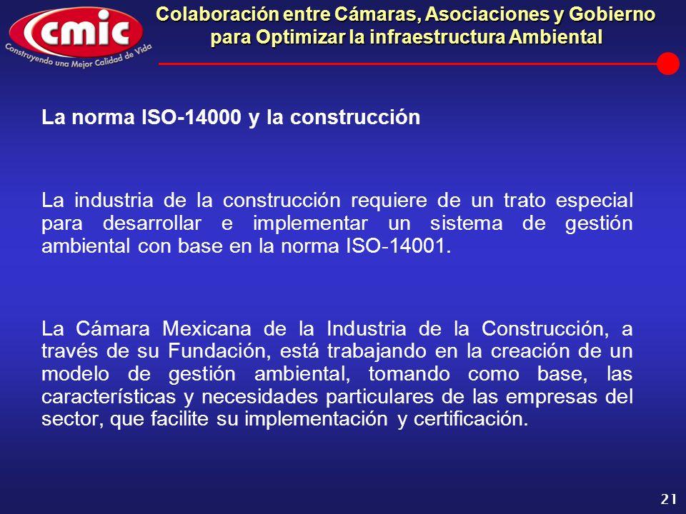 Colaboración entre Cámaras, Asociaciones y Gobierno para Optimizar la infraestructura Ambiental 21 La norma ISO-14000 y la construcción La industria d