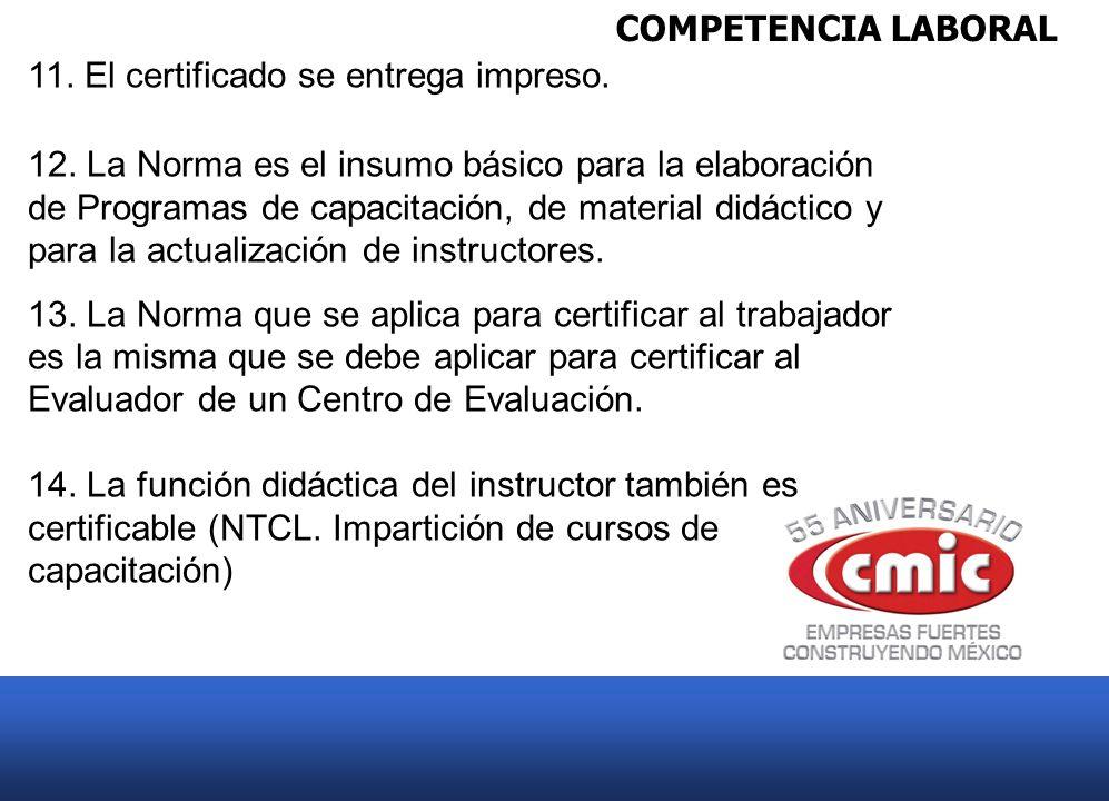 COMPETENCIA LABORAL 11. El certificado se entrega impreso. 12. La Norma es el insumo básico para la elaboración de Programas de capacitación, de mater