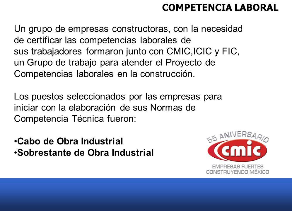 COMPETENCIA LABORAL Un grupo de empresas constructoras, con la necesidad de certificar las competencias laborales de sus trabajadores formaron junto c