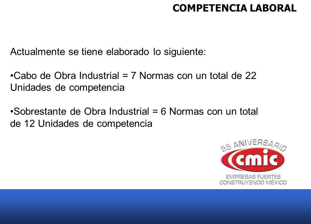 COMPETENCIA LABORAL Actualmente se tiene elaborado lo siguiente: Cabo de Obra Industrial = 7 Normas con un total de 22 Unidades de competencia Sobrest