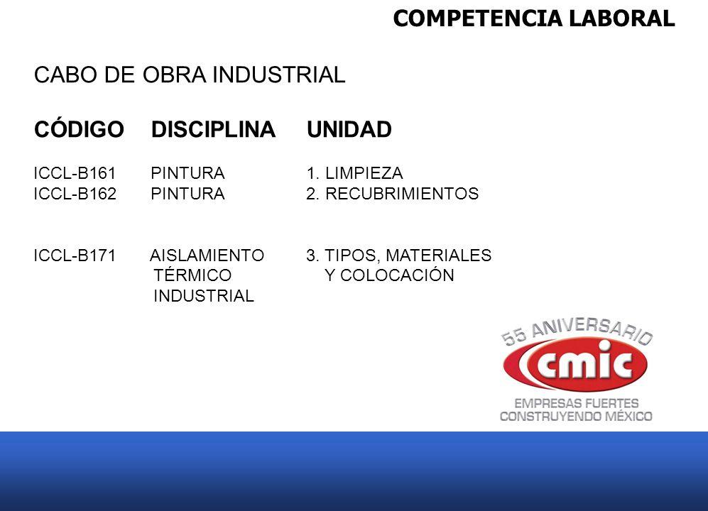 COMPETENCIA LABORAL CABO DE OBRA INDUSTRIAL CÓDIGO DISCIPLINAUNIDAD ICCL-B161 PINTURA 1. LIMPIEZA ICCL-B162 PINTURA2. RECUBRIMIENTOS ICCL-B171 AISLAMI