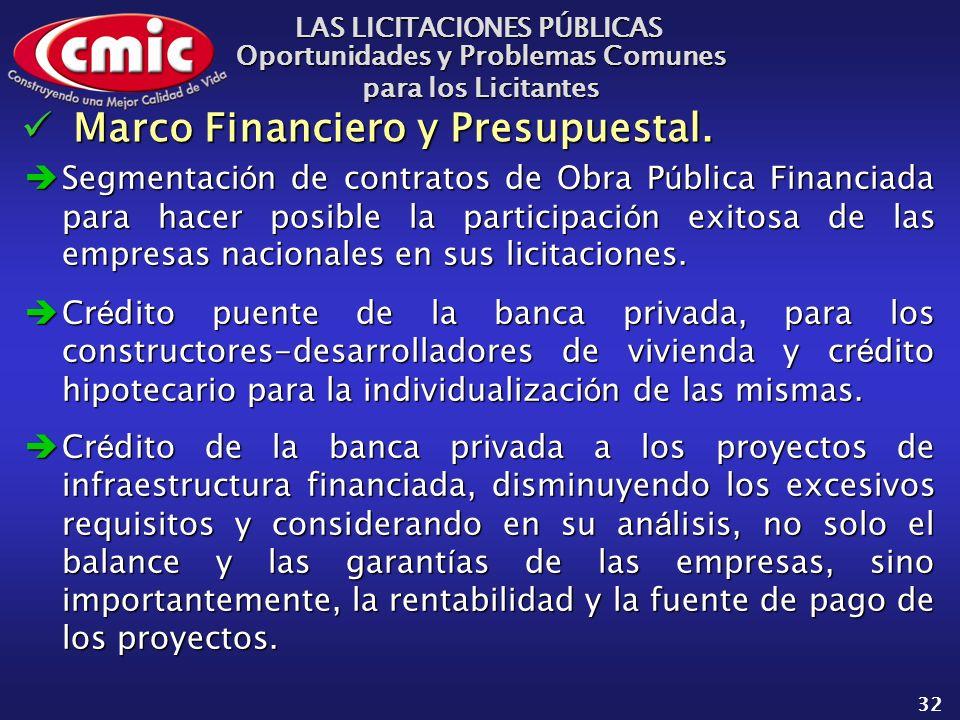 LAS LICITACIONES PÚBLICAS Oportunidades y Problemas Comunes para los Licitantes 32 Marco Financiero y Presupuestal.