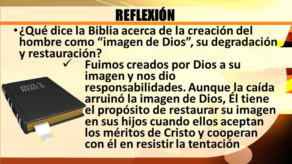 REFLEXIÓN ¿Qué dice la Biblia acerca de la creación del hombre como imagen de Dios, su degradación y restauración? Fuimos creados por Dios a su imagen