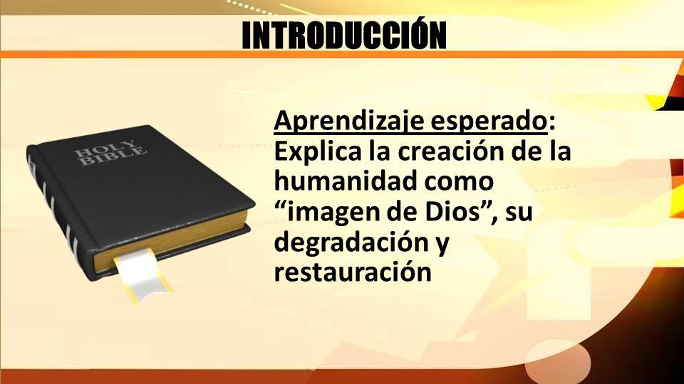 INTRODUCCIÓN Aprendizaje esperado: Explica la creación de la humanidad como imagen de Dios, su degradación y restauración