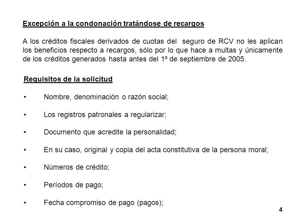 Excepción a la condonación tratándose de recargos A los créditos fiscales derivados de cuotas del seguro de RCV no les aplican los beneficios respecto a recargos, sólo por lo que hace a multas y únicamente de los créditos generados hasta antes del 1º de septiembre de 2005.