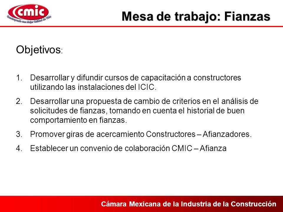 Cámara Mexicana de la Industria de la Construcción Mesa de trabajo: Fianzas Objetivos : 1.