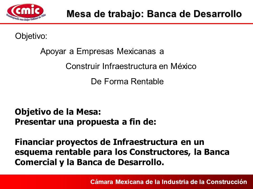 Cámara Mexicana de la Industria de la Construcción Objetivo: Apoyar a Empresas Mexicanas a Construir Infraestructura en México De Forma Rentable Objetivo de la Mesa: Presentar una propuesta a fin de: Financiar proyectos de Infraestructura en un esquema rentable para los Constructores, la Banca Comercial y la Banca de Desarrollo.