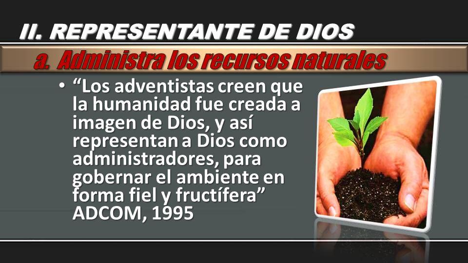 Los adventistas creen que la humanidad fue creada a imagen de Dios, y así representan a Dios como administradores, para gobernar el ambiente en forma