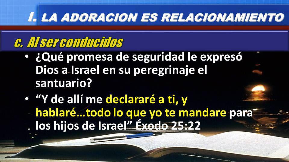 ¿Qué promesa de seguridad le expresó Dios a Israel en su peregrinaje el santuario? Y de allí me declararé a ti, y hablaré…todo lo que yo te mandare pa