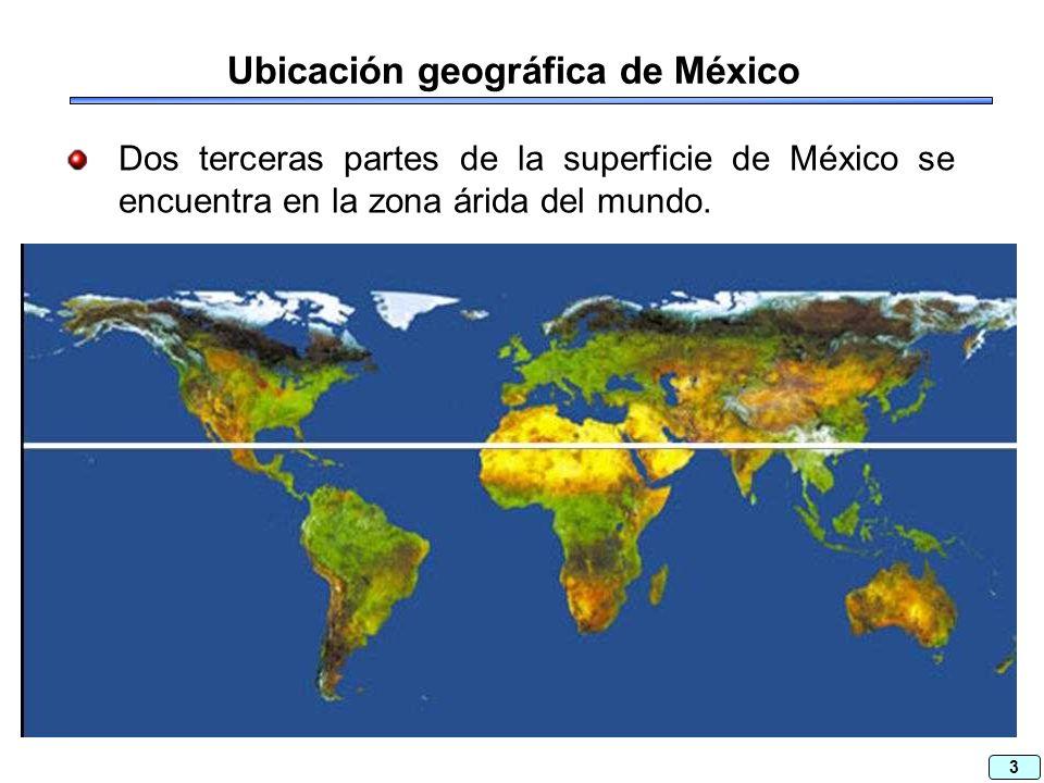 3 Ubicación geográfica de México Dos terceras partes de la superficie de México se encuentra en la zona árida del mundo.