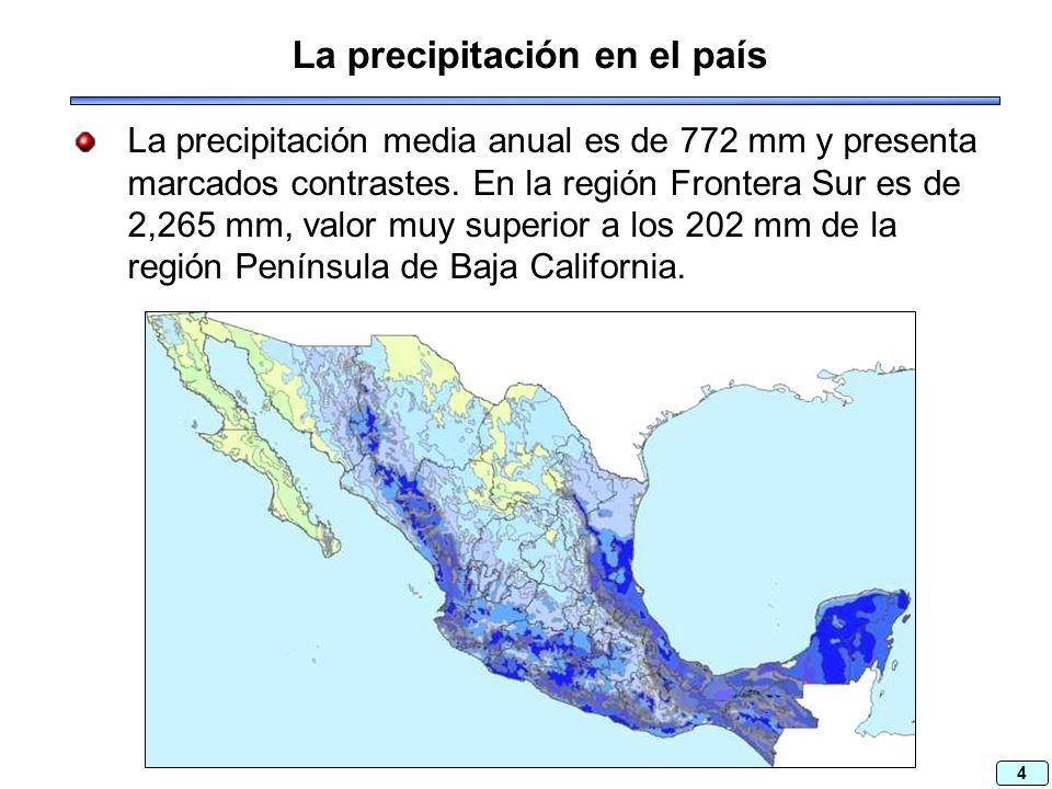 4 La precipitación en el país La precipitación media anual es de 772 mm y presenta marcados contrastes.