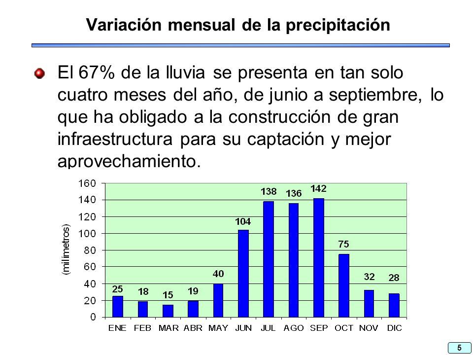 5 Variación mensual de la precipitación El 67% de la lluvia se presenta en tan solo cuatro meses del año, de junio a septiembre, lo que ha obligado a la construcción de gran infraestructura para su captación y mejor aprovechamiento.