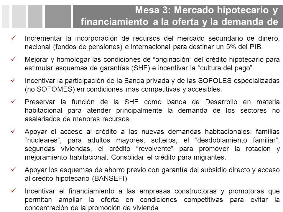 Incrementar la incorporación de recursos del mercado secundario de dinero, nacional (fondos de pensiones) e internacional para destinar un 5% del PIB.