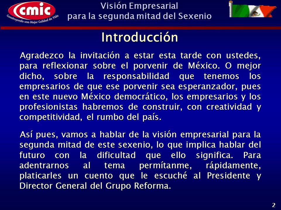 Visión Empresarial para la segunda mitad del Sexenio 2 Agradezco la invitación a estar esta tarde con ustedes, para reflexionar sobre el porvenir de México.