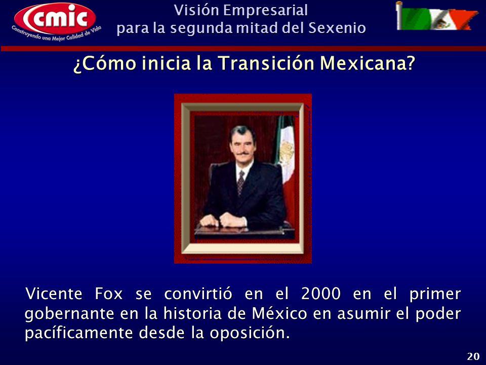 Visión Empresarial para la segunda mitad del Sexenio 20 Vicente Fox se convirtió en el 2000 en el primer gobernante en la historia de México en asumir el poder pacíficamente desde la oposición.