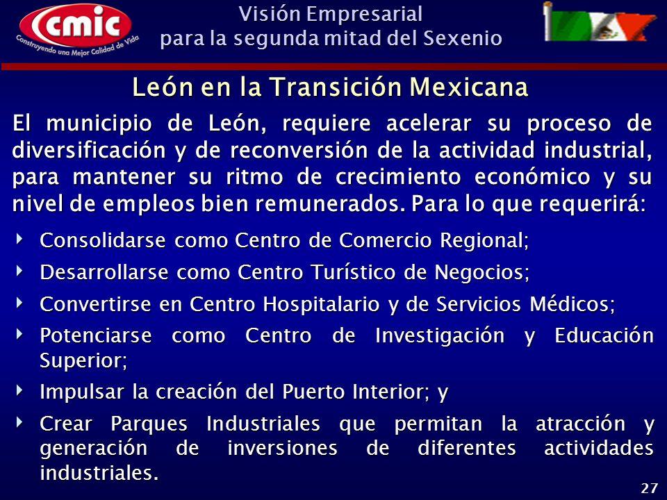 Visión Empresarial para la segunda mitad del Sexenio 27 León en la Transición Mexicana El municipio de León, requiere acelerar su proceso de diversificación y de reconversión de la actividad industrial, para mantener su ritmo de crecimiento económico y su nivel de empleos bien remunerados.